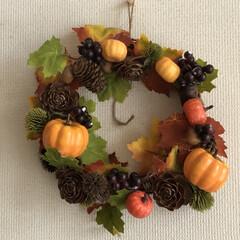 かぼちゃ/リース/インテリア/ハロウィン/ダイソー/100均/... ハロウィンリース作りました 材料は全てD…