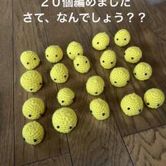 編み物/かぎ針編み/あみぐるみ/黄色い物体/さてなんだ?/夏の課題/... こんばんは 黄色い丸い何かが20個出来あ…