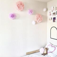 ペーパーフラワー/ウォールデコレーション/子ども部屋/インテリア/ダイソー 幼稚園の娘の部屋の壁に飾りをつけました。…