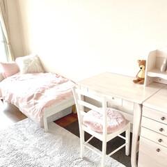 女の子部屋/学習デスク/子ども部屋/収納/住まい/ニトリ/... 1年生の娘の部屋に新しく机を買いました。…