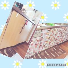 リメイクシートで大変身 キッチンをリメイクしてみました。セリアの…