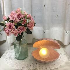 シェル ランプ ホワイト francfranc(その他キッチン、日用品、文具)を使ったクチコミ「シェルランプ→Francfranc 花瓶…」
