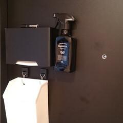 新型コロナウイルス/除菌スプレー/100均/玄関/収納 玄関に除菌スプレーを置きました。 帰って…