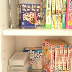 本棚/収納/整理/空き箱/再利用/片付け/... マンガや小説など小さな本が本棚の奥に引っ…