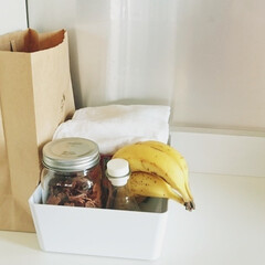 紙袋/リサイクル収納/キッチン/収納/整理/片づけ 紙袋の中は食べかけのパンが入っています。…