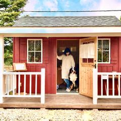 水彩イラスト/犬と暮らす/アトリエ/わたしの作業部屋 お庭で趣味を楽しむ小屋 作業デスクの反対…(5枚目)