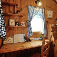 水彩イラスト/犬と暮らす/アトリエ/わたしの作業部屋 お庭で趣味を楽しむ小屋 作業デスクの反対…