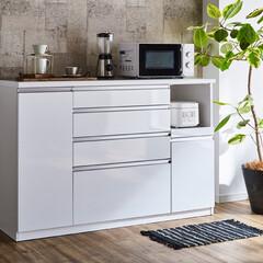 キッチンカウンター/ハイグロス/ホワイト/お手入れラク/メラミン天板/幅140cm/... ホワイトハイグロスのキッチンカウンター