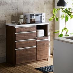 キッチンカウンター/幅90cm/引出/開き戸/カウンター/キッチン収納/... 木目調ウォールナットでおしゃれなキッチン…