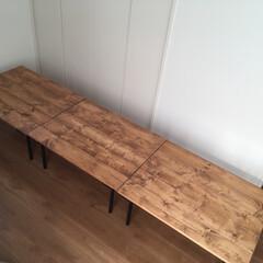 キャンプ/木材/つや消し黒/ワトコオイル/DIY テーブルDIY3連