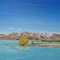 「#ブルー」/ブルー 私が書いた油絵です。空と湖の青がポイント…