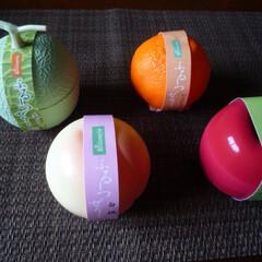 夏のお気に入り フルーツゼリーです。メロン、みかん、桃、…