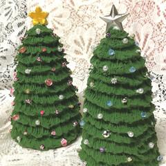 クリスマスツリー/粘土細工/クレイクラフト/雑貨/ハンドメイド この ツリー🌲✨の 土台  昨日 パパと…