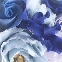 ブルー/粘土細工/クレイフラワー/クレイクラフト/ハンドメイド *・゜゚・*:.。..。.:*・    …
