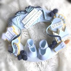 粘土細工/ハンドメイド/クレイクラフト/雑貨/ブルーのアレンジ フリーハンド & オールクレイ の お祝…