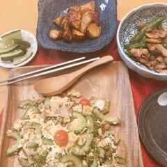 ゴーヤチャンプル/スタミナご飯 こんばんは!今日も湿度76% 蒸し暑い中…(1枚目)