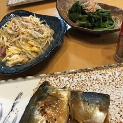 おうちごはん/暮らし ずーっと肉が、夕食続いていたので、 魚🐟…