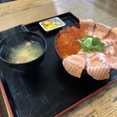 簡単/ラク家事 今日 以前食べた海鮮親子丼(最初のフォト…