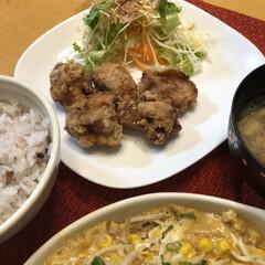 レンチン料理/今日の晩ご飯/limiaキッチン同好会/節約 今日の晩ご飯 鳥モモ肉の竜田揚げ 野菜の…