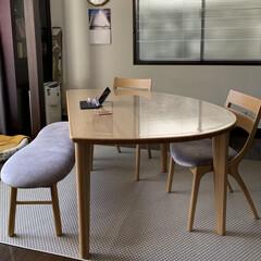 ダイニングテーブル/カーペット/イケア/IKEA/カリモク/レイアウト/... カリモクのダイニングテーブル。形がとても…