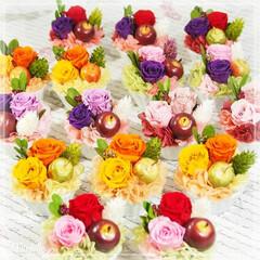 プリザーブドフラワー/ハンドメイド/フラワーギフト/インテリア雑貨 高さ約7cm・幅約6cm 天然花材:つげ…
