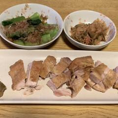 おつまみ 小松菜のお浸しにザーサイの明太子和え 鶏…