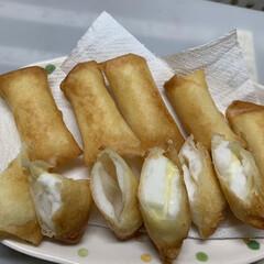 料理酒/鷹の爪/顆粒だし/三温糖/ごま油/ゴボウ/... 本日の夕飯  はんぺん チーズ入りの春巻…