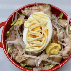 からし/チャーシュー丼/ゆで卵/白髪ねぎ/茹でもやし/レタス/... 今日のお弁当  チャーシュー丼。  茹で…