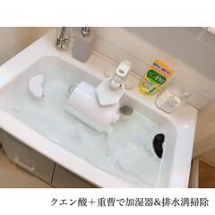 キッチンリセット/キッチン掃除/浸け置き洗い/浸け置き/重曹/クエン酸洗浄/... ﹏𖥧𖥧﹏  洗面台掃除と加湿器掃除と排水…