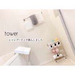 風呂場掃除/お風呂場収納/tower/シャンプーラック/収納アイデア/賃貸収納/... ﹏𖥧𖥧﹏  towerのシャンプーラック…
