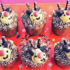 カップケーキ/トナカイ/クリスマス/ダイソー/フード #クリスマス 市販のマフィンにチョコホイ…