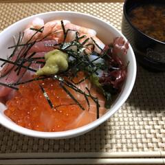 海鮮丼/夜ご飯 今日の夜ご飯✨ 自分の好きな物だけの海鮮…