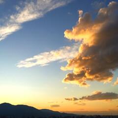 今日の空/雲/太陽/夕暮れ 今日の空。 太陽の沈む位置が 微妙に変わ…