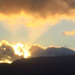 今日の空/金色/雲/ゴールデンタイム 今日の空。 空が金色に輝いています。 柔…