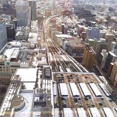 おでかけワンショット。/札幌駅/線路/残雪の街/おでかけワンショット おでかけワンショット。 札幌駅を上から見…