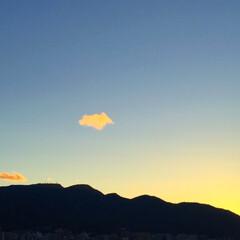 夏の空/夕焼け/雲/景色/風景 夕日が雲を彩っています。 かわいい雲に癒…
