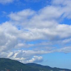 今日の空/青空/白い雲/山の緑/景色/風景 今日の空。 晴れた青空に白い雲。 山の緑…