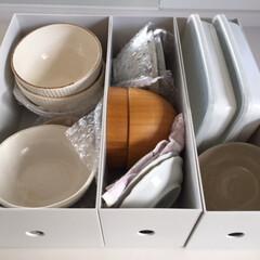 キッチン/キッチン収納/無印良品/ファイルボックス/食器収納/引っ越しに便利 キッチン収納。無印良品のファイルボックス…(1枚目)
