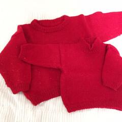 私の手作り。/セーター/兄妹お揃い 私の手作り。 子どもたちのために編んだセ…