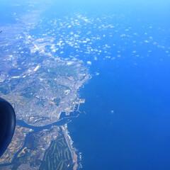 旅の思い出/成田空港/着陸/海/キレイ 旅の思い出。 成田空港到着少し前。 海が…