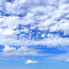 今日の空。/水色/濃い青/白い雲/天気 今日の空。 空の色がグラデーションになっ…