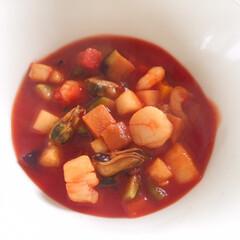 ランチ/ミネストローネスープ/冷凍食品/トマトジュース/コンソメスープの素/おかわり/... 今日のランチ。 お手軽ミネストローネ。 …