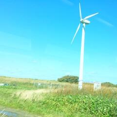 今日のお出かけ/北海道/日本海/浮力発電装置/風が強い/景色 今日のお出かけ。 北海道の日本海側は 風…