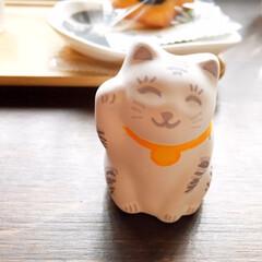 わたしの手作り/招き猫/色付け/センスが問われる/谷中 私の手作り作品です。 素焼きの招き猫に自…