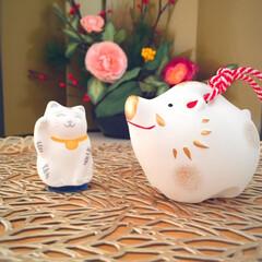 冬の1枚。/玄関前の飾り/干支の土鈴/招き猫/冬 冬の1枚。 玄関前のコーナーにて。 お客…