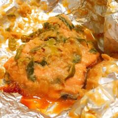 わたしのごはん/しあわせご飯。/ます/鮭/ちゃんちゃん焼き/味噌ダレ/... しあわせご飯。 ます(鮭)のなんちゃって…