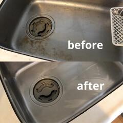 お掃除/ハウスクリーニング/シンク掃除/シンク/キッチン シンクの汚れ 年末の大掃除前に綺麗にしま…