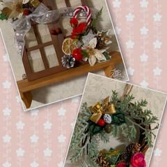 いぬ🐶/リース/飾り/クリスマス/ダイソー/セリア/... こんばんは🌛  今日も一日寒かったですね…(2枚目)