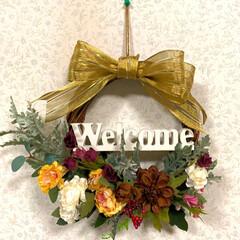 秋のリース/welcomeオブジェ/送別会のお花/リボン/ダイソー/100均/... おはようございます(^^)☀️  今朝は…