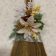 クリスマス/スワッグ風/ほうき/レモン100均/クリスマス2019/ダイソー/... おはようございます☀  ほうきでクリスマ…(3枚目)